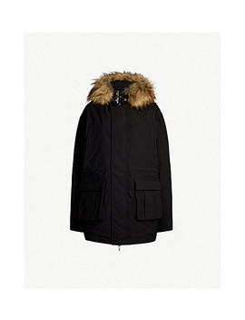 Faux Fur Trimmed Shell Hooded Parka Coat by The Kooples