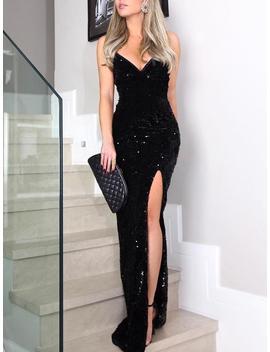 Sleeveless Thigh Slit Sequin Evening Dress by Ivrose