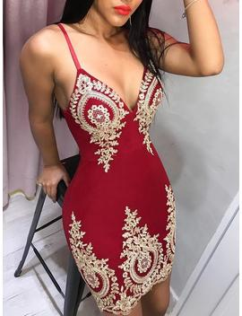 Spaghetti Strap Deep V Lace Embroidery Dress by Ivrose