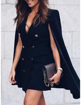 Double Breasted Cloak Design Blazer Dress by Ivrose