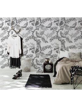 Grey Birds Removable Wallpaper   Traditional   Grey Print Wall Mural   Self Adhesive Wall Decal   Temporary Peel And Stick  #95 by Etsy