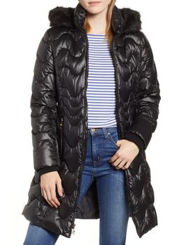 Faux Fur Trim Hooded Puffer Jacket by Gallery