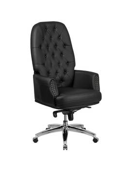 High Back Traditional Tufted Bonded Leather Multifunction Executive Swivel Chair With Arms by Lancaster Home