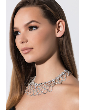 Right Beside You Rhinestone Necklace by Akira
