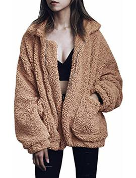 Womens Faux Shearling Jacket, Casual Lapel Fleece Fuzzy Jacket Shaggy Oversized Jacket Fashion Cardigan Coat by New Egg