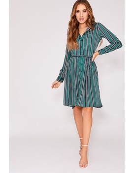 Endria Green Stripe Pocket Detail Tie Front Dress by In The Style