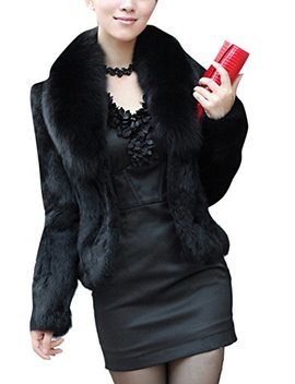Gesellie Women's Fashion Faux Fox Fur Long Sleeve Thick Overcoat Slim Short Coat by Gesellie