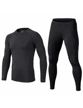 Buykud Kids' Boys Long Sleeve Athletic Base Layer Compression Underwear Shirt & Tights Set by Buykud