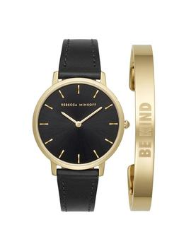 Major Black 35 Mm Watch & Gold Plated Bangle Gift Set by Rebecca Minkoff
