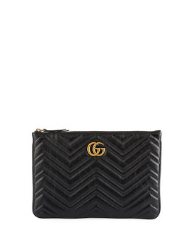 Gg Marmont Quilted Leather Zip Pouch Bag by Gucci