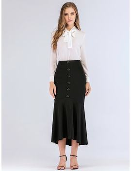 Button Front Flounce Hem Skirt by Sheinside