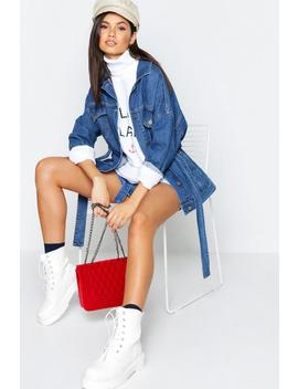 Belted Oversize Longline Denim Jacket by Boohoo