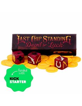Last Chip Standing: Devil's Luck | Fast, Light & Fun Pocket Classic Family Dice Game | Includes 19mm Custom Dice, 24 Yellow Mini Chips, And Magnetic Carry Case | Travel Friendly Tabletop Board Game by Brybelly
