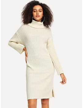 Robe Pull Col Haut à Bord Montant by Sheinside