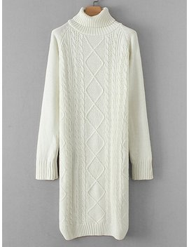 Cable Knit Raglan Sleeve Sweater Dress by Sheinside