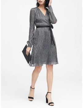 Petite Pleated Metallic Faux Wrap Dress by Banana Repbulic