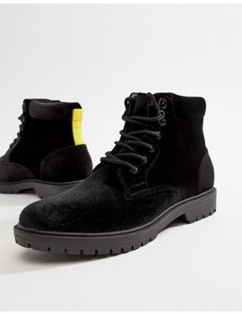 Asos Design Hiker Boots In Black Velvet With Contrast Laces by Asos Design