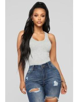 Davina Basic Tank Bodysuit   Heather Grey by Fashion Nova
