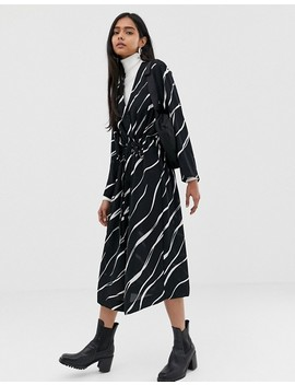 Weekday Zebra Swirl Print Smock Dress by Weekday