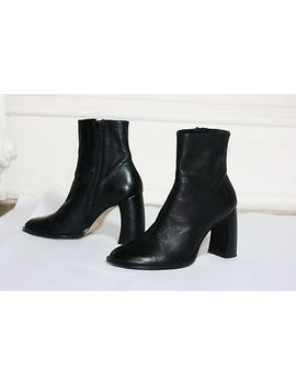 Black Ann Demeulemeester Ankle Boots Booties Shoes Curved Banana Heel 38 by Ann Demeulemeester