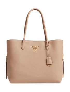 Daino Side Zip Leather Shopper by Prada