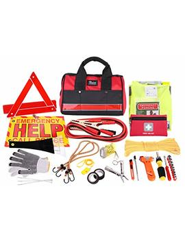 Thrive Roadside Assistance Auto Emergency Kit + First Aid Kit – Rugged Tool Bag   Contains Jumper Cables, Tools, Reflective Safety Triangle And More. Ideal Winter Accessory For Your Car Or Truck by Thrive