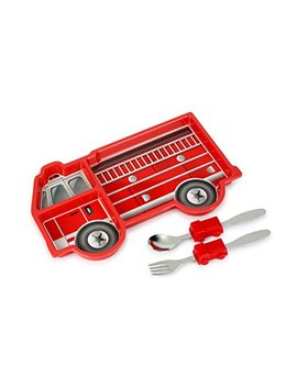 Kids Funwares Me Time Meal Set (Fire Engine) – 3 Piece Set For Kids And Toddlers – Plate, Fork And Spoon That Children Love   Sparks Your Child's Imagination & Teaches Portion Control   Dishwasher Safe by Kids Funwares