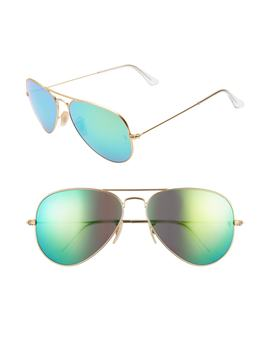 58mm Mirrored Aviator Sunglasses by Ray Ban