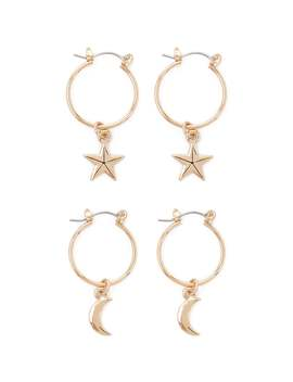 Moon & Star Hoop Earring Set by Forever 21