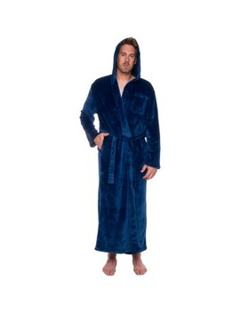 Ross Michaels Mens Hooded Full Length Big And Tall Long Bath Robe by Ross Michaels