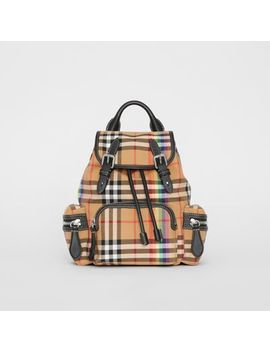 The Small Crossbody Rucksack In Rainbow Vintage Check by Burberry