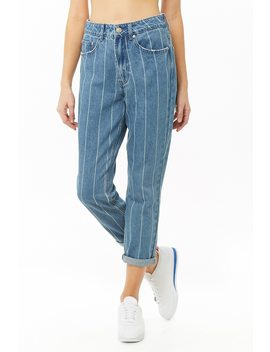 Pinstriped Straight Leg Jeans by Forever 21