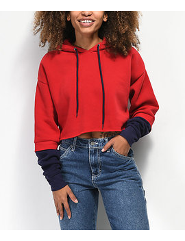 Empyre Mayana Red & Blue 2 Fer Crop Hoodie by Empyre