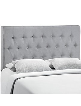 Modway Mod 5203 Gry Clique Upholstered Linen Button Tufted King Headboard Size In Sky Gray Fabric by Modway