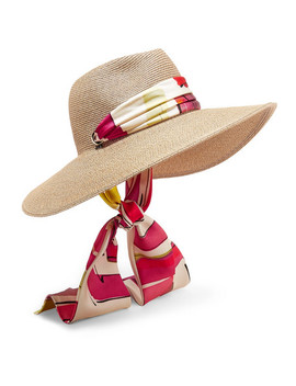 Cassidy Printed Faille Trimmed Woven Faux Raffia Sunhat by Eugenia Kim