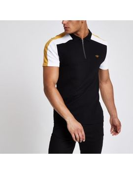 Black Color Block Wasp Pique Polo Shirt by River Island
