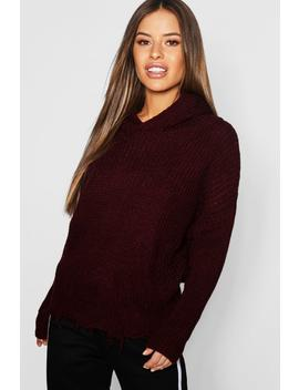 Petite Hooded Frayed Hem Jumper by Boohoo