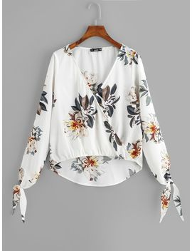 Wrap Flower Print Top by Shein