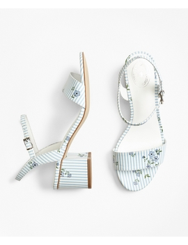 Striped Floral Print Leather Block Heel Sandals by Brooks Brothers