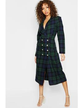 Longline Checked Mock Horn Button Blazer Dress by Boohoo