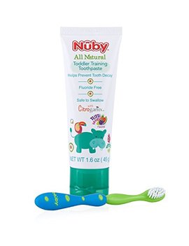 Nuby All Natural Toddler Toothpaste With Citroganix With Toothbrush, Blue/Green by Nuby