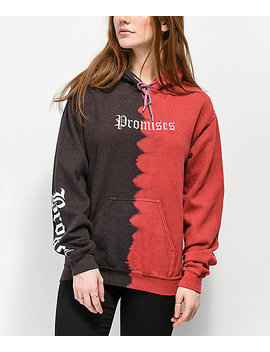 Broken Promises Slogan Half Tie Dye Hoodie by Broken Promises