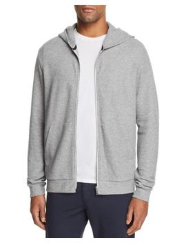 Essential Zip Front Waffle Knit Hoodie by Theory