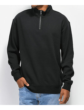 Zine Zippy Half Zip Black Sweatshirt by Zine