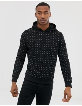 River Island Hoodie With Rhinestones In Black by River Island