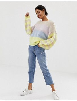 Vila Color Block Stripe Balloon Sleeve Sweater by Vila