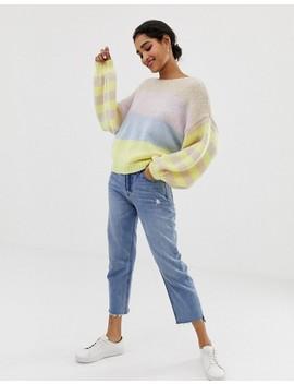 Vila Color Block Stripe Balloon Sleeve Sweater by Vila