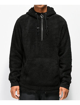 Ninth Hall Summit Black Sherpa Half Zip Tech Hoodie by Ninth Hall