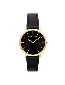 Major Gold Tone Black Strap Watch, 35m by Rebecca Minkoff