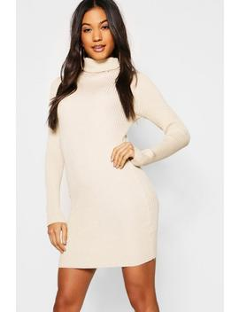 Metallic Rib Knit Roll Neck Jumper Dress by Boohoo